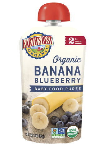 Earth's Best - Baby Puree Pouches - Fruit - Banana Blueberry Baby Food Puree - Ebambu.ca free delivery >59$