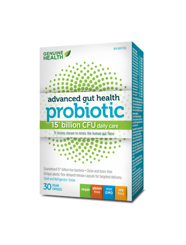 Genuine Health - Advanced Gut Health - Probiotic 15 billion 30 caps - Ebambu.ca free delivery >59$