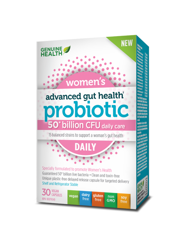 Genuine Health - Advanced Gut Health Probiotic Womens Daily 30 caps - Ebambu.ca free delivery >59$