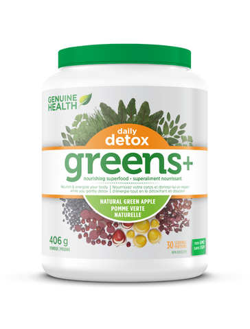 Genuine Health - Greens + Daily Detos Green Apple 406 g - Ebambu.ca free delivery >59$