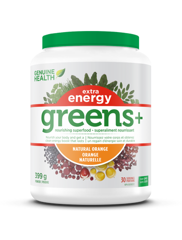 Genuine Health greens+ Extra energy - Orange - Ebambu.ca free delivery >59$