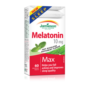 Jamieson Melatonin 10 mg Dual Action 60 caplets by Jamieson - Ebambu.ca natural health product store - free shipping <59$