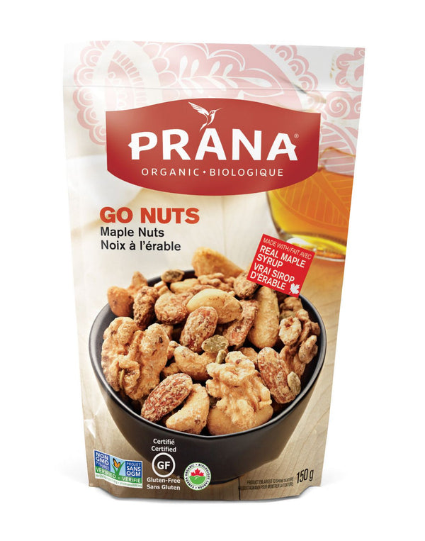 Prana - Go Nuts Maple Coates Mixed Nuts 150 g - Ebambu.ca free delivery >59$