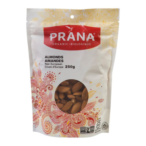 Prana - Organic Raw European Almonds 250 g - Ebambu.ca free delivery >59$