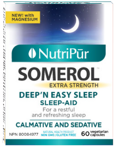 Nutripur Somerol - Anguish causing insomnia, Difficulty to fall asleep, Frequent waking, Insomnia, Irritability, Nervousness, Nocturnal agitation, Light sleep. - Ebambu.ca natural health product store - free shipping <59$