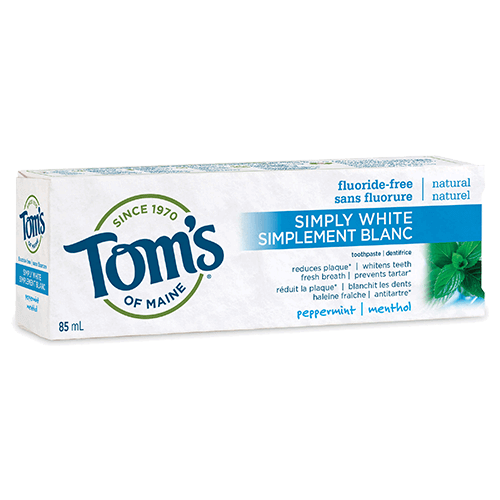 Tom's of Maine - Adult Toothpaste - Simply White Peppermint - 3 Sizes - Regular Size - Ebambu.ca free delivery >59$