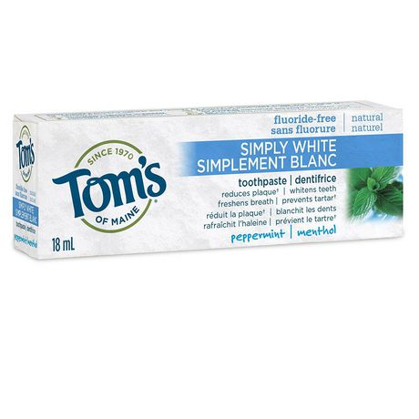 Tom's of Maine - Adult Toothpaste - Simply White Peppermint - 3 Sizes - Travel Size - Ebambu.ca free delivery >59$