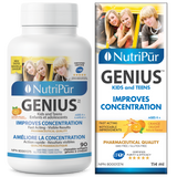 Nutripur GENIUS Kids & Teens - Attention Deficit Disorder/Hyperactivity (ADD/ADHD), school performance, concentration, memory, anxiety, insomnia, Difficulty with reading and writing. - Ebambu.ca natural health product store - free shipping <59$