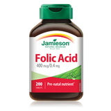 Jamieson Folic Acid 0.4 mg 200 tablets by Jamieson - Ebambu.ca natural health product store - free shipping <59$