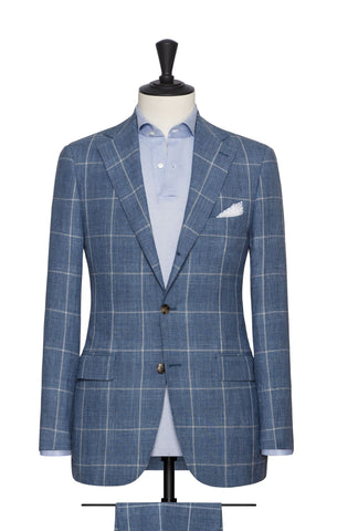 Solbiati Pale Blue Linen Wool Silk Glencheck Beige Windowpane