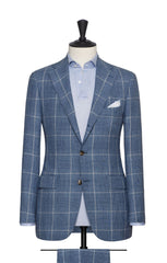 Solbiati pale blue linen wool silk glencheck beige windowpane Inspiration