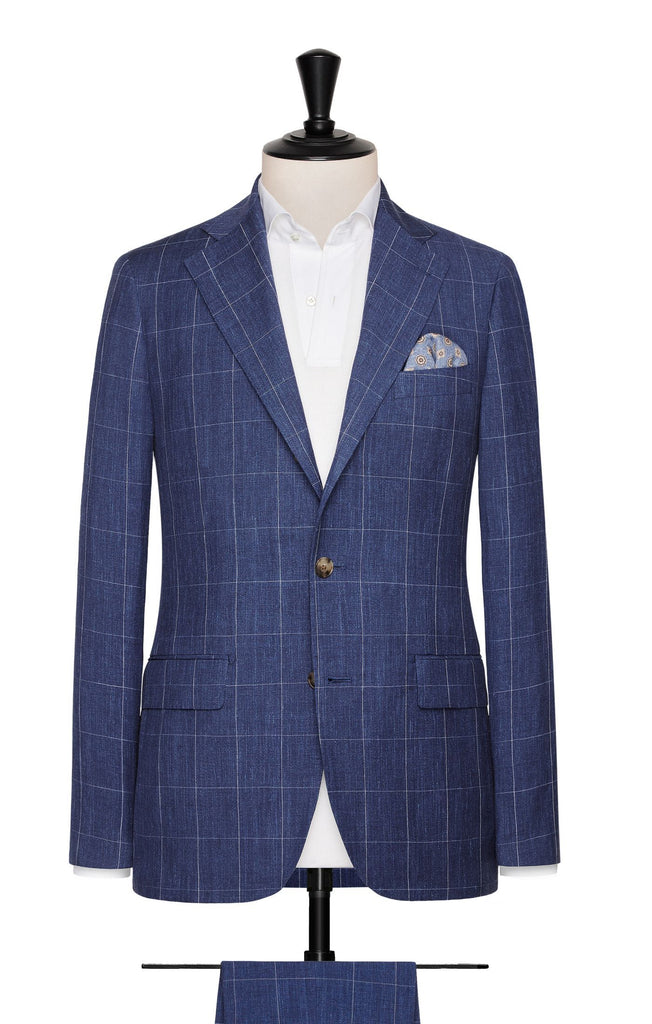 Solbiati slate blue linen wool silk fine windowpane