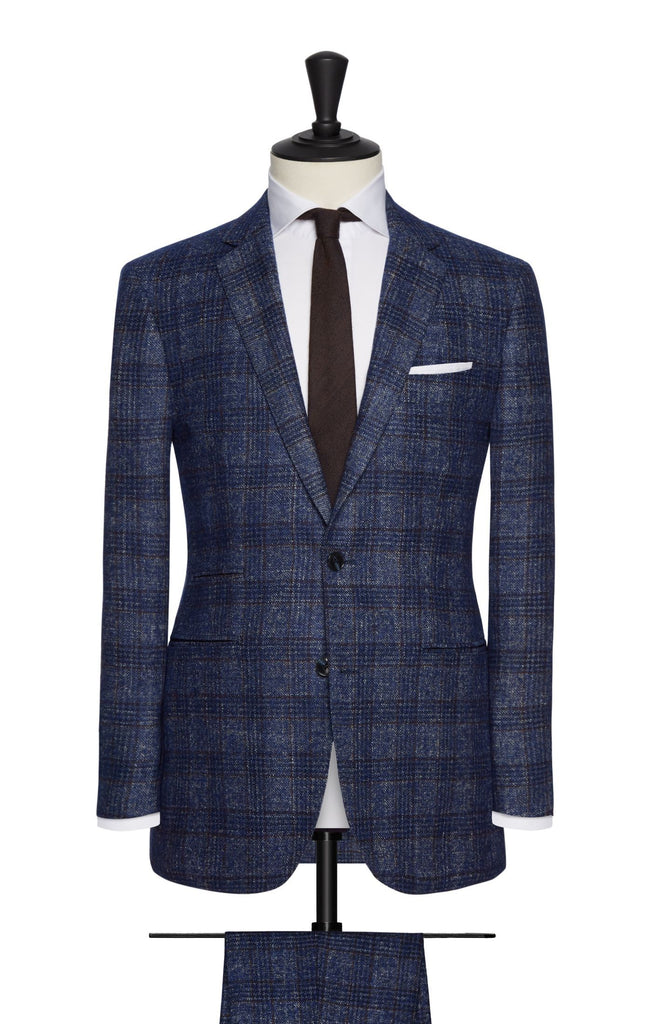 Ferla bright blue brushed sharkskin with brown windowpane