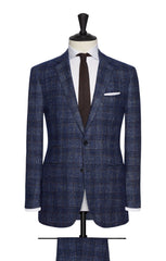 Ferla bright blue brushed sharkskin with brown windowpane Inspiration