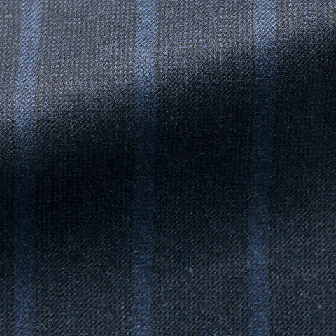 Midnight Blue Wool Mid Blue Stripes