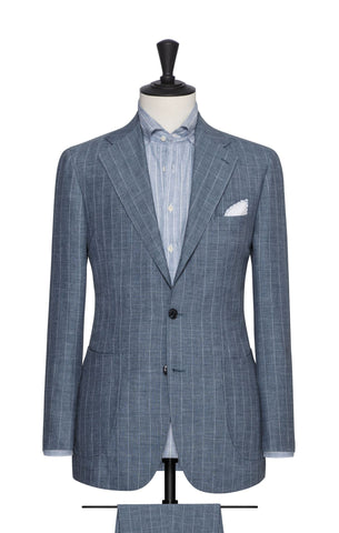 Solbiati Slate Blue Linen Wool Silk with White Pinpoint Stripe