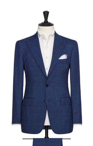 Barberis Canonico Royal Blue Tropical Wool Linen with Black Glencheck