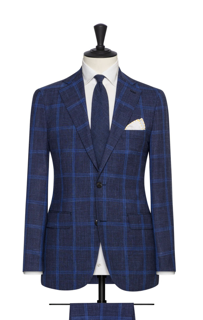Loro Piana Dark Blue Wool Silk Linen with Bright Blue Windowpane