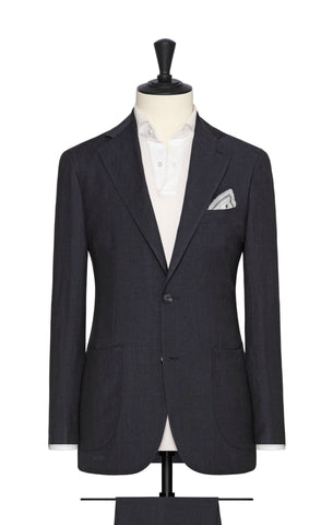 Solbiati midnight blue linen wool silk
