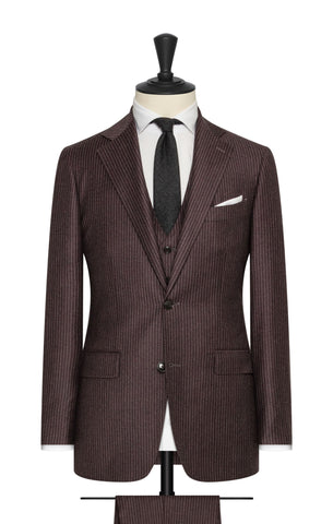Marzotto raisin brushed s110 wool with white pinstripe