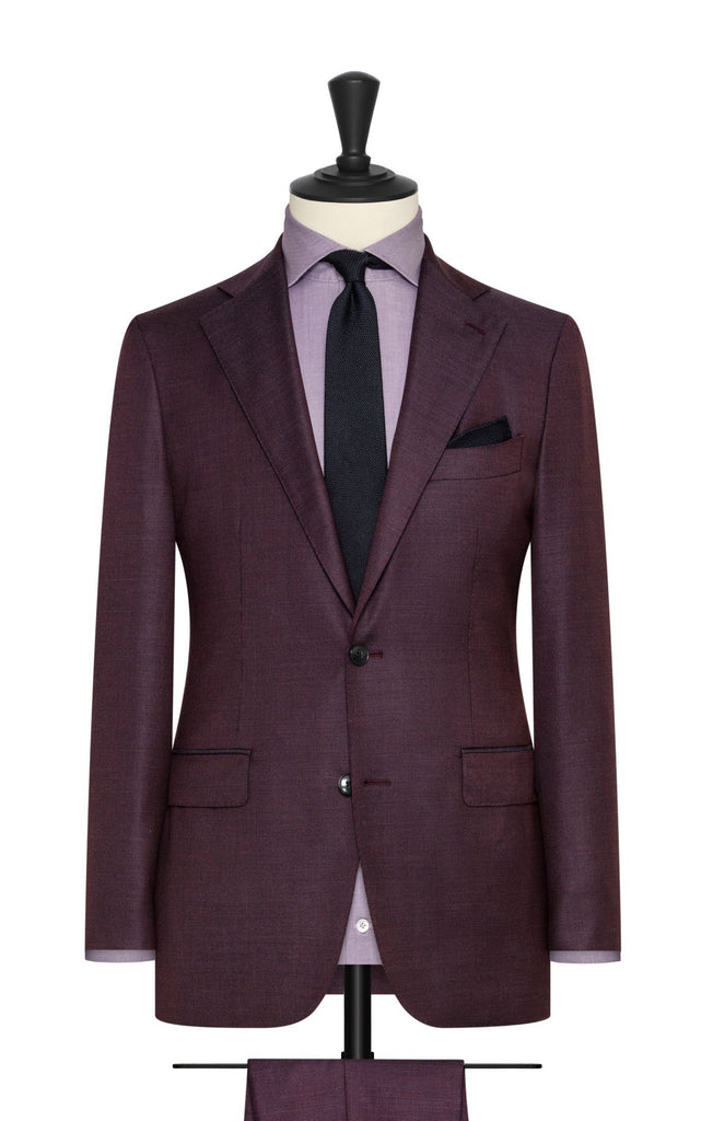 Loro Piana burgundy and blue s130 wool basketweave