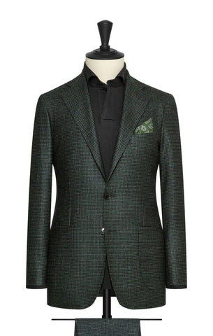 Loro Piana midnight blue green wool silk cashmere faux uni houndstooth