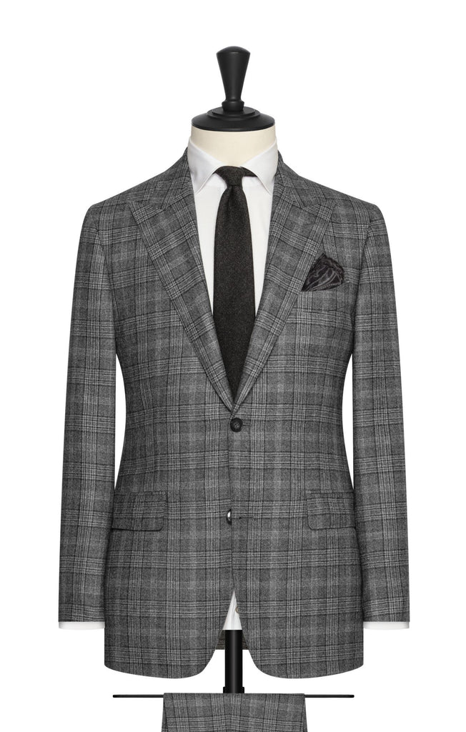 Loro Piana mixed grey wool with modern glencheck