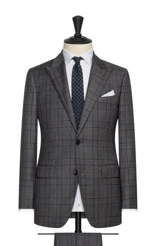 VBC dark grey s110 wool sharkskin with blue black glencheck