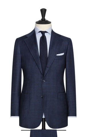 Loro Piana dark blue wool with subtle mid blue glencheck
