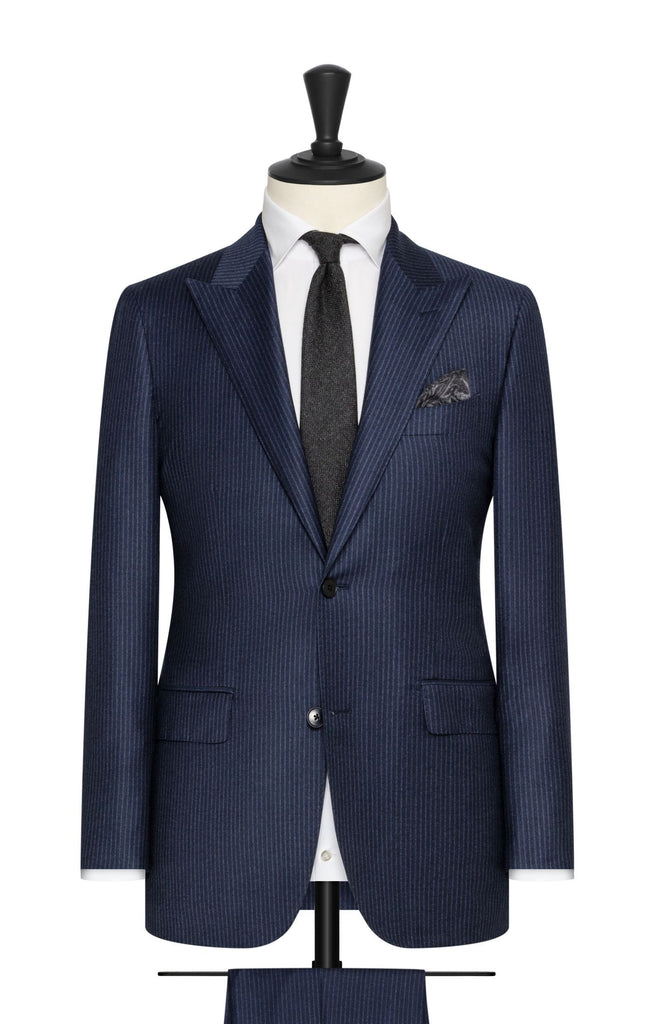 VBC navy brushed wool cashmere with fine mid blue stripes