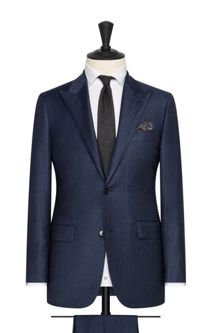 Barberis Canonico Navy Brushed Wool Cashmere with Fine Mid Blue Stripes