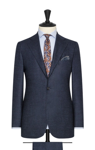 Loro Piana navy blue brushed comfort wool