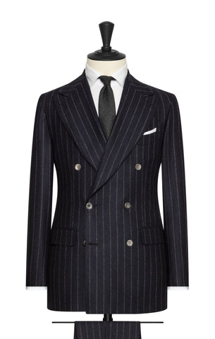Solbiati midnight blue brushed wool with white pinstripes