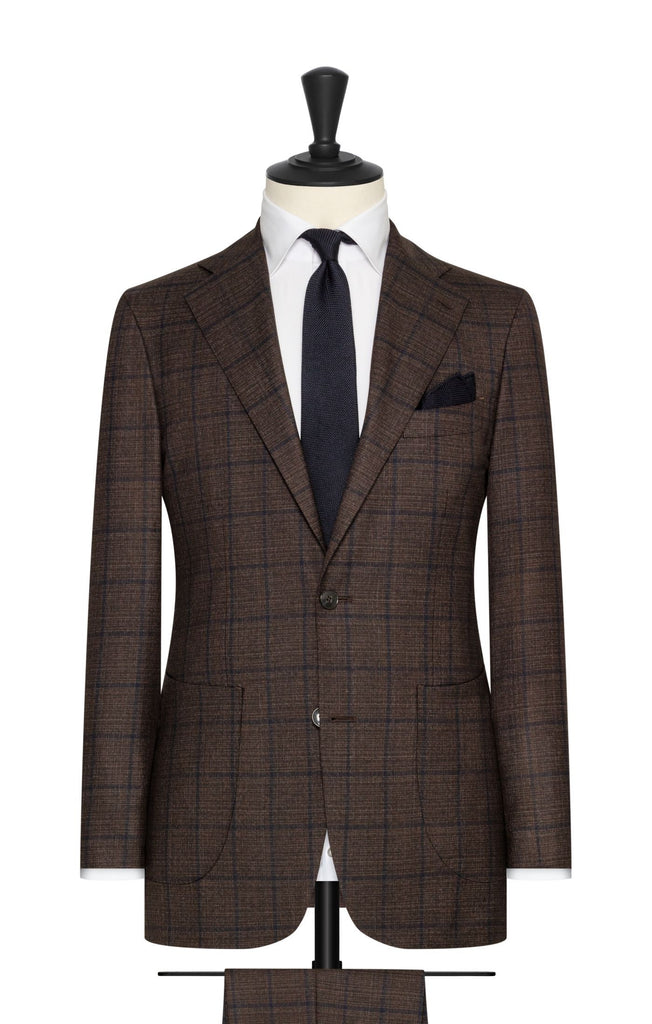 brown s130 wool with blue windowpane