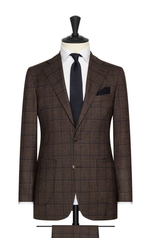 Vitale Barberis Canonico brown s130 wool with blue windowpane