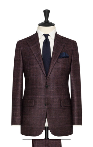 Loro Piana dark burgundy wool silk cashmere with subtle blue and black check