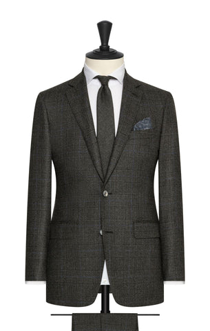 Loro Piana Dark Grey Brushed Wool with Subtle Blue Windowpane