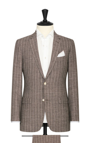 Solbiati brown white linen wool silk with technical pinstripes