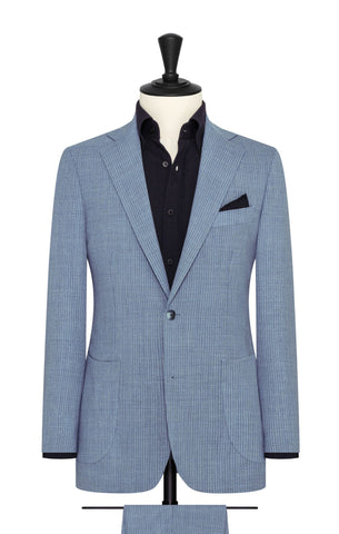 Angelico denim blue wool open weave with fine pinstripes