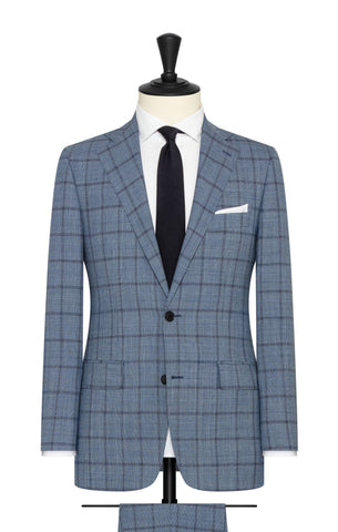 Barberis Canonico light blue mélange S120 wool with fine black glencheck