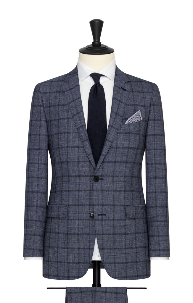 Barberis Canonico blue mélange wool with fine black glencheck