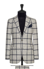 Ferla light grey alpaca and wool blend with dark blue windowpane Inspiration