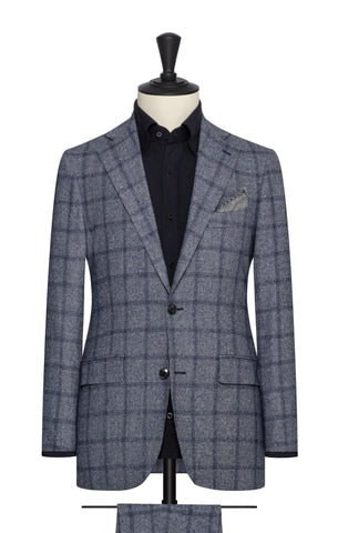blue white faux uni wool silk with blue windowpane