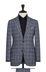 blue white faux uni wool silk with blue windowpane Inspiration