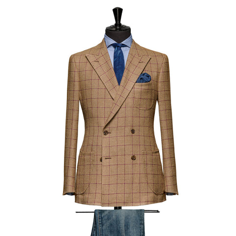 Mid Brown Glencheck Windowpane Purple