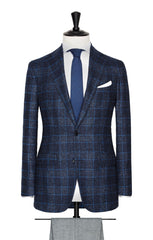 Loro Piana dark blue glencheck with bright blue windowpane and alpaca blouclé Inspiration