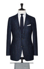 Loro Piana dark blue mid blue stripes with alpaca bouclé Inspiration