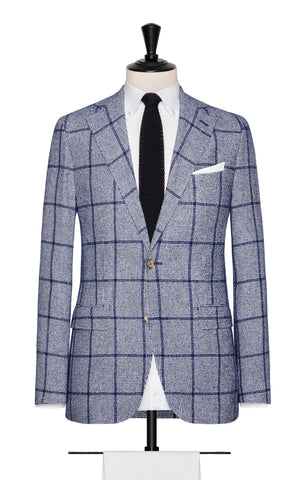 Ferla Royal Blue White Houndstooth with Royal Blue Windowpane