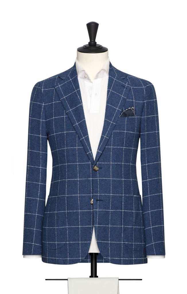 Solbiati Mid Blue Bouclé with Fine White Windowpane