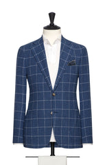 Solbiate mid blue bouclé with fine white windowpane Inspiration